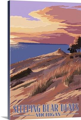 Sleeping Bear Dunes, Michigan - Dunes Sunset and Bear: Retro Travel Poster