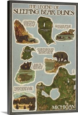 Sleeping Bear Dunes, Michigan - Sleeping Bear Dunes Legend Map: Retro Travel Poster