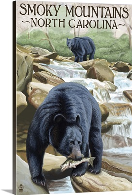 Smoky Mountains, North Carolina - Bears Fishing: Retro Travel Poster