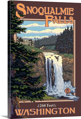 Snoqualmie Falls Day: Retro Travel Poster