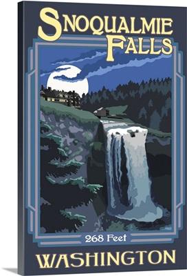 Snoqualmie Falls: Retro Travel Poster