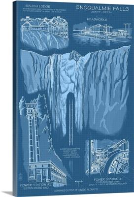 Snoqualmie Falls, WA - Engineer Drawings (Blueprint): Retro Travel Poster