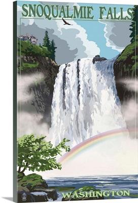 Snoqualmie Falls, Washington - Summer Scene: Retro Travel Poster