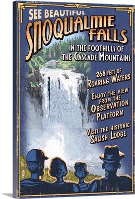 Snoqualmie Falls, Washington - Vintage Sign: Retro Travel Poster