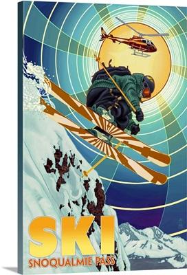 Snoqualmie Pass, Washington -  Heli-Skiing: Retro Travel Poster