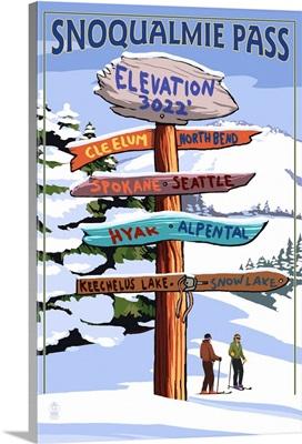 Snoqualmie Pass, Washington - Ski Signpost: Retro Travel Poster