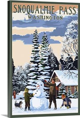 Snoqualmie Pass, Washington - Snowman Scene: Retro Travel Poster
