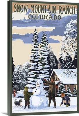 Snow Mountain Ranch, Colorado - Snowman Scene: Retro Travel Poster