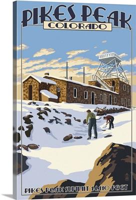 Snow Scene atop Pikes Peak, Colorado: Retro Travel Poster
