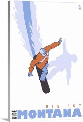 Snowboard Stylized - Big Sky, Montana: Retro Travel Poster