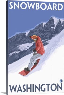 Snowboard Washington: Retro Travel Poster