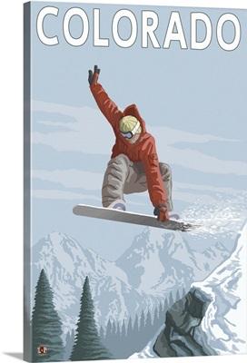 Snowboarder Jumping - Colorado: Retro Travel Poster