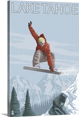 Snowboarder Jumping - Lake Tahoe, California: Retro Travel Poster