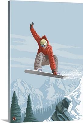 Snowboarder Jumping: Retro Poster Art