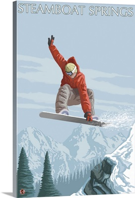 Snowboarder Jumping - Steamboat Springs, Colorado: Retro Travel Poster