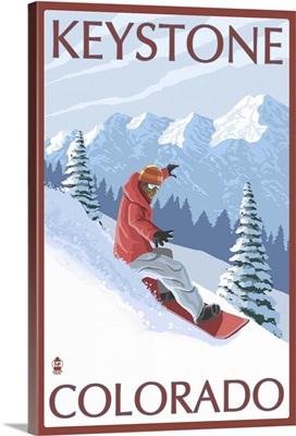 Snowboarder - Keystone, Colorado: Retro Travel Poster