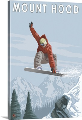 Snowboarder - Mount Hood, Oregon: Retro Travel Poster