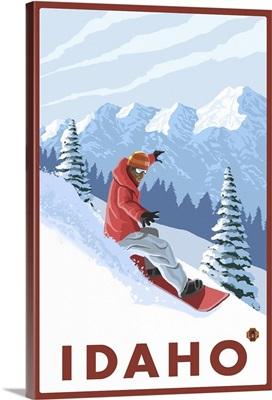 Snowboarder Scene - Idaho: Retro Travel Poster