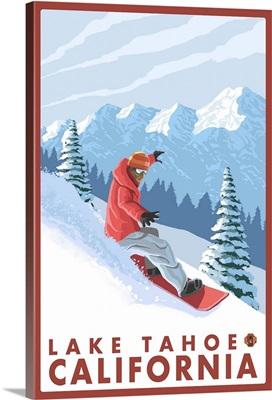 Snowboarder Scene - Lake Tahoe, California: Retro Travel Poster