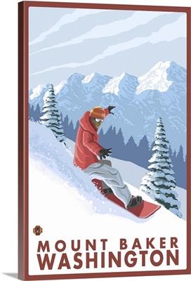 Snowboarder Scene - Mount Baker, Washington: Retro Travel Poster