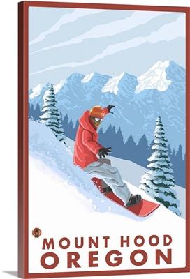 Snowboarder Scene - Mount Hood, Oregon: Retro Travel Poster