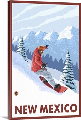 Snowboarder Scene - New Mexico: Retro Travel Poster