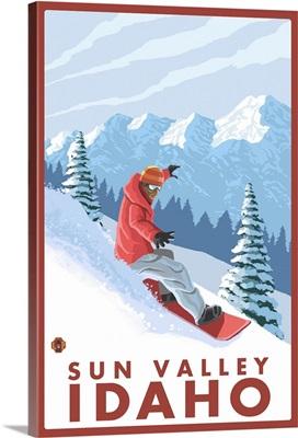 Snowboarder Scene - Sun Valley, Idaho: Retro Travel Poster