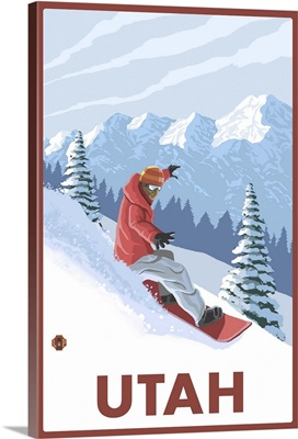 Snowboarder Scene - Utah: Retro Travel Poster