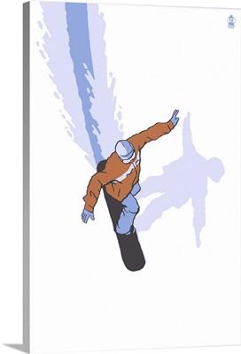 Snowboarder Stylized: Retro Poster Art