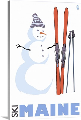 Snowman with Skis - Maine: Retro Travel Poster