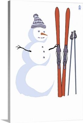 Snowman with Skis: Retro Poster Art
