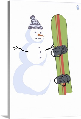Snowman with Snowboard: Retro Poster Art