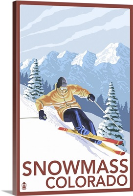 Snowmass, Colorado - Downhill Skier: Retro Travel Poster