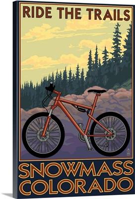 Snowmass, Colorado - Mountain Bike: Retro Travel Poster