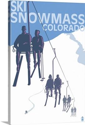 Snowmass, Colorado - Ski Lift: Retro Travel Poster