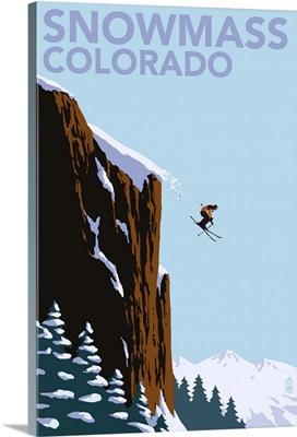 Snowmass, Colorado - Skier Jumping: Retro Travel Poster
