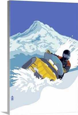 Snowmobile: Retro Poster Art