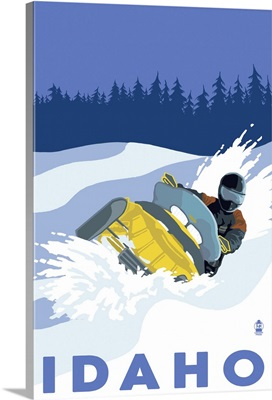 Snowmobile Scene - Idaho: Retro Travel Poster
