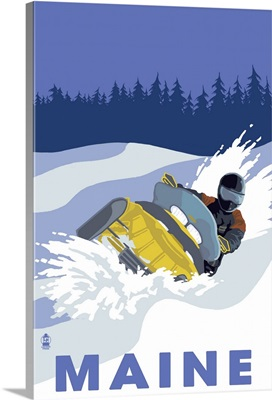 Snowmobile Scene - Maine: Retro Travel Poster