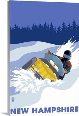 Snowmobile Scene - New Hampshire: Retro Travel Poster