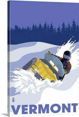 Snowmobile Scene - Vermont: Retro Travel Poster