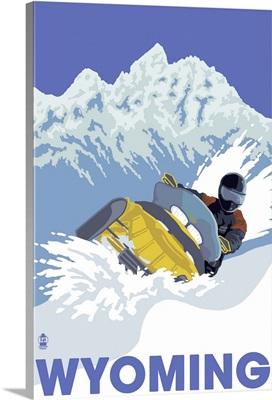Snowmobile Scene - Wyoming: Retro Travel Poster