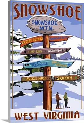 Snowshoe, West Virginia - Destination Signpost: Retro Travel Poster