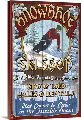 Snowshoe, West Virginia - Ski Shop Vintage Sign: Retro Travel Poster
