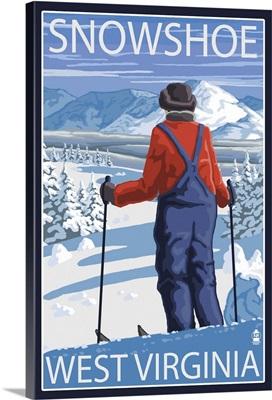 Snowshoe, West Virginia - Skier Admiring View: Retro Travel Poster