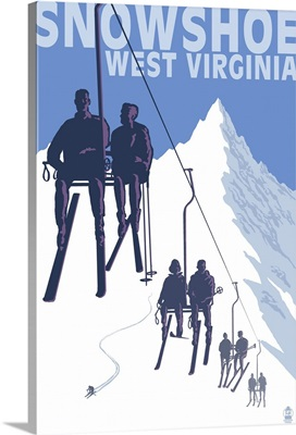 Snowshoe, West Virginia - Skiers on Lift: Retro Travel Poster