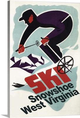 Snowshoe, West Virginia - Vintage Skier: Retro Travel Poster