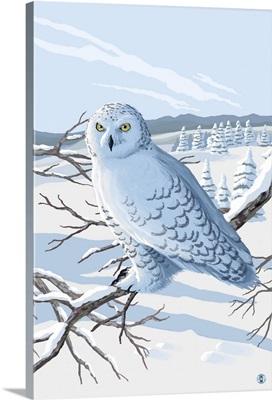 Snowy Owl: Retro Poster Art
