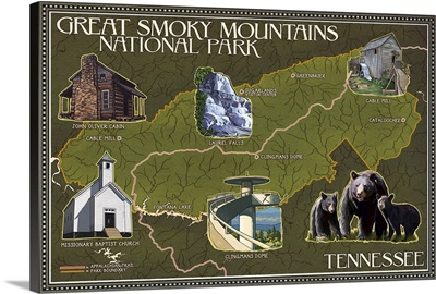 Soft Map - Great Smoky Mountains National Park, TN: Retro Travel Poster