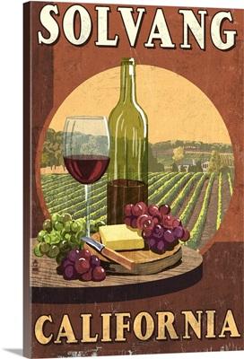 Solvang, California - Wine Vintage Sign: Retro Travel Poster
